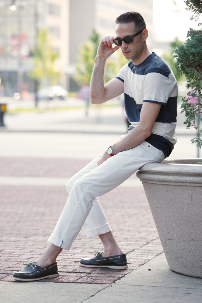 White Denim Simple Summer Casual - He Spoke Style