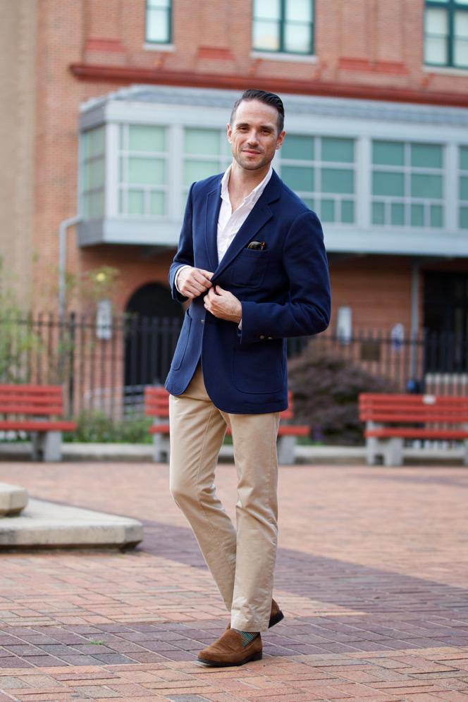 khakis with blue blazer