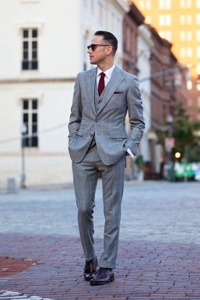 The Grey Plaid Three Piece Suit - He Spoke Style