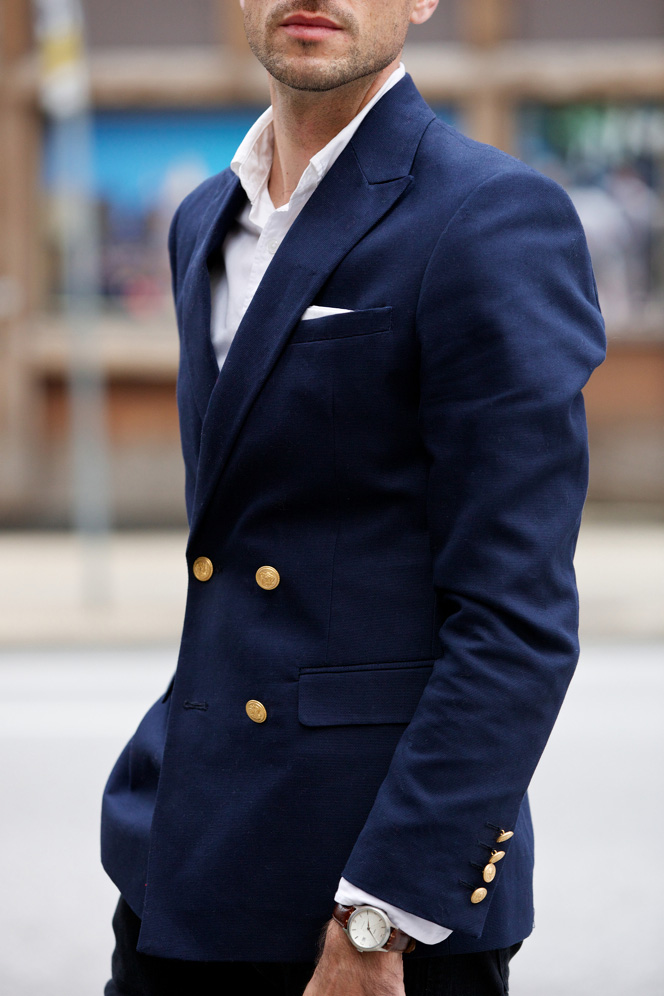 ASOS Navy Double Breasted Blazer