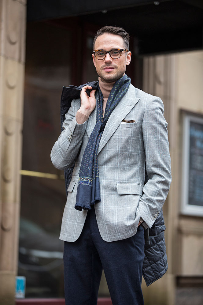 Plaid Blazer Tan Turtleneck - He Spoke Style