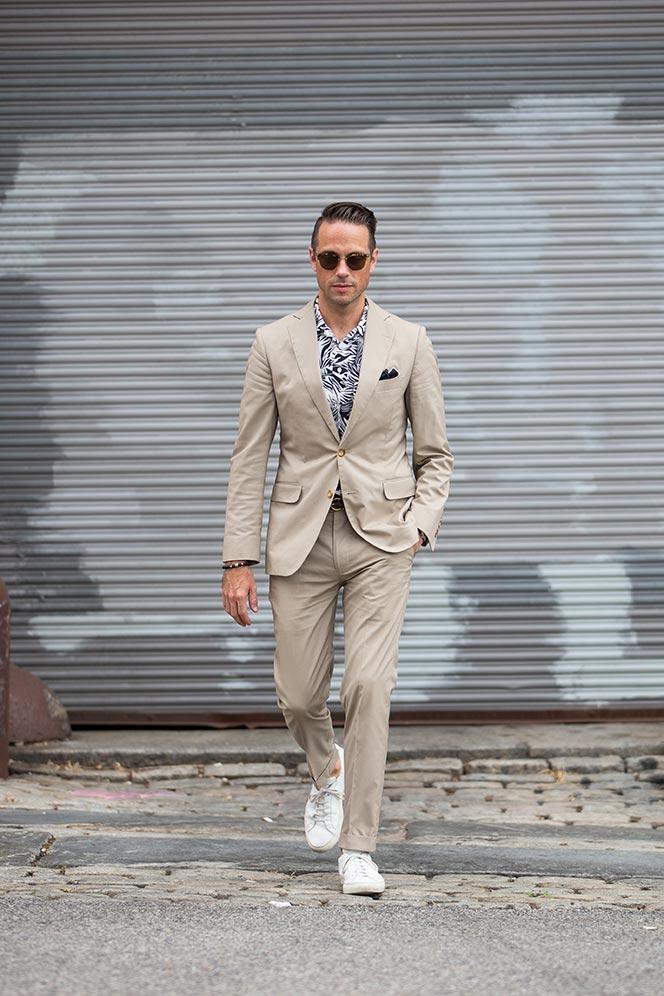 Khaki Suit, White Sneakers - He Spoke Style