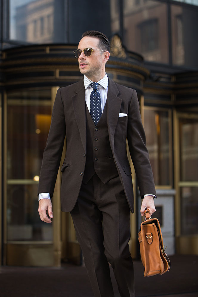 Brown 3-Piece Suit - Men's Brown Suits - He Spoke Style