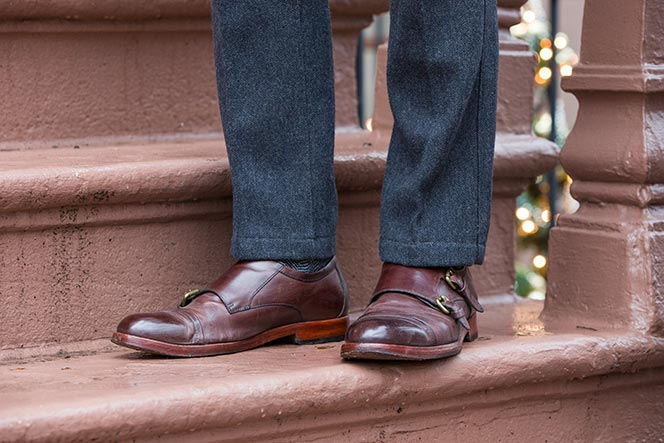 burgundy double monk strap leather shoes