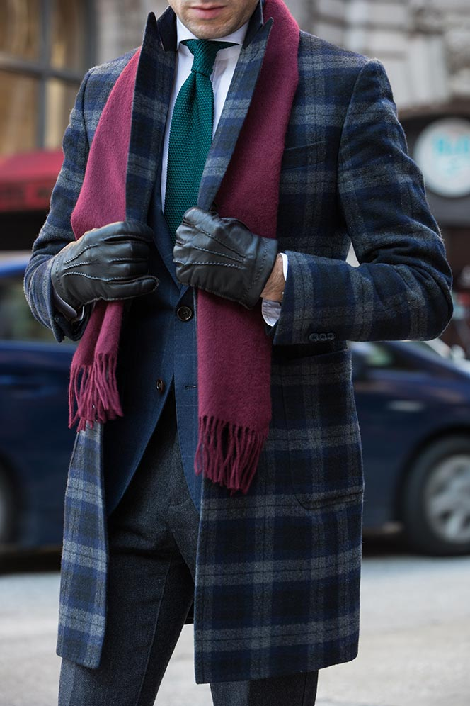 Mens Wool Overcoat Plaid Winter Outfit Ideas - He Spoke Style