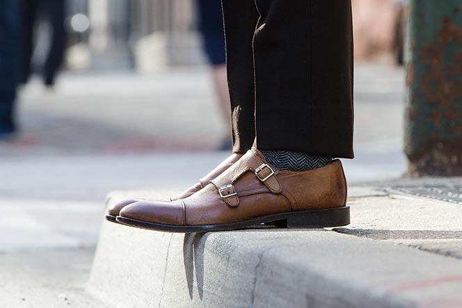 light brown double monk strap shoes
