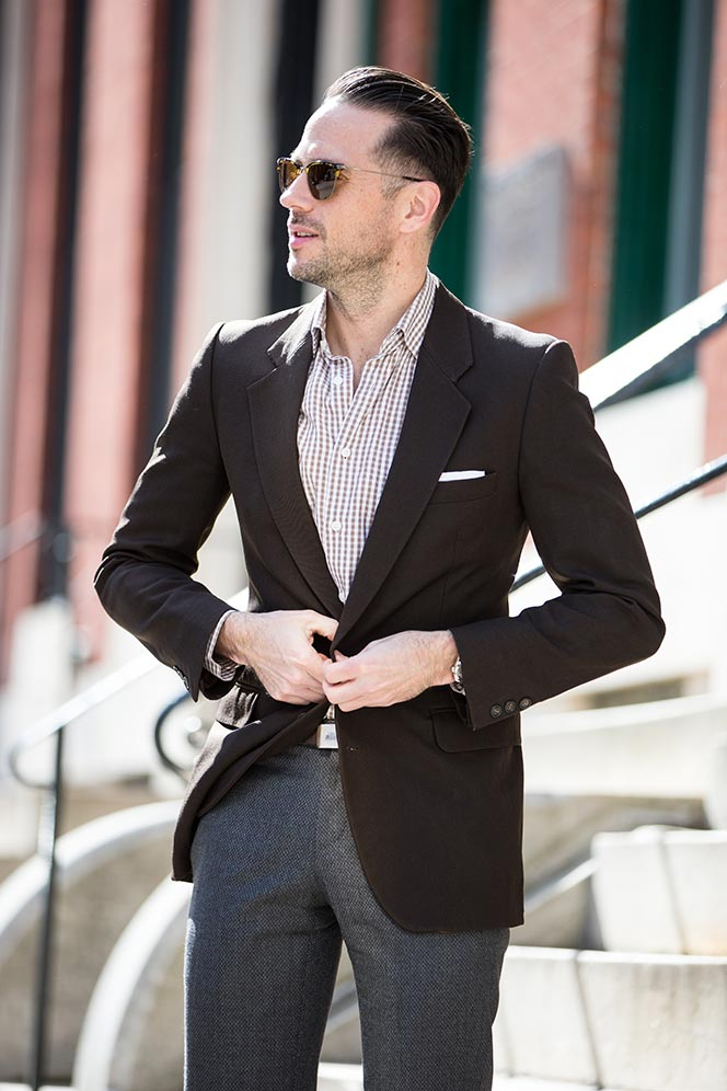 brown gingham shirt spring outfit ideas