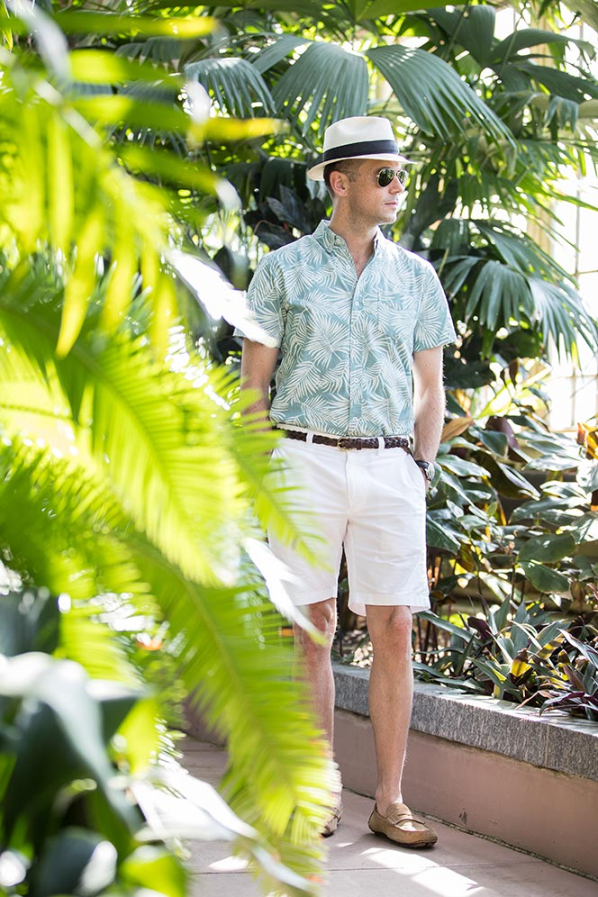 palm-tree-printed-shirt-white-shorts-panama-hat-tan-suede-loafers-mens-casual-summer-outfit-ideas-1