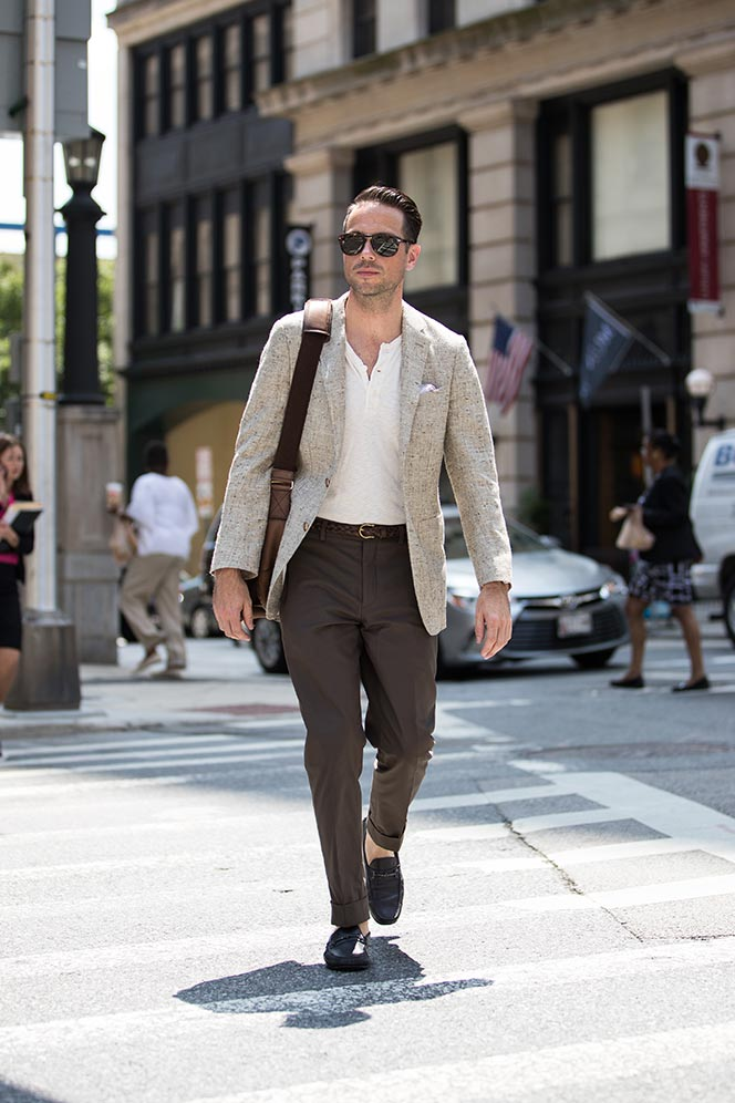 brown cotton suit summer outfit ideas