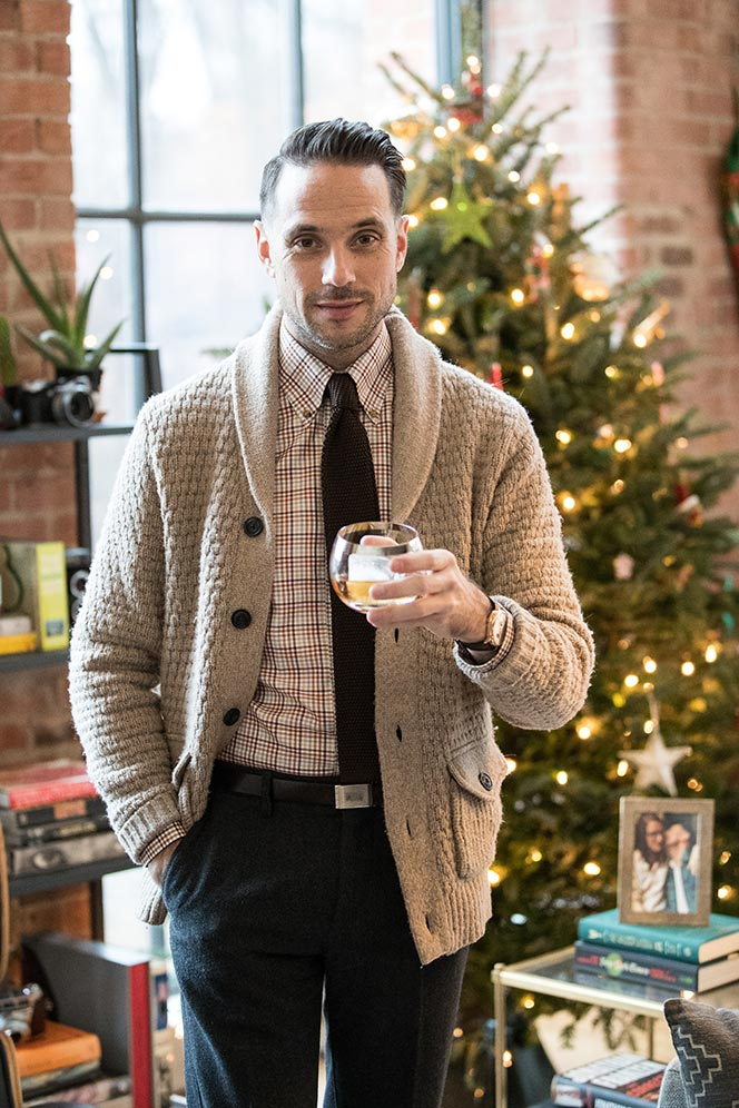 chunky-shawl-cardigan-with-button-down-shirt-brown-silk-knit-tie-what-to-wear-new-years-eve-party-at-home-entertaining-in-style-mens-outfit-ideas-2