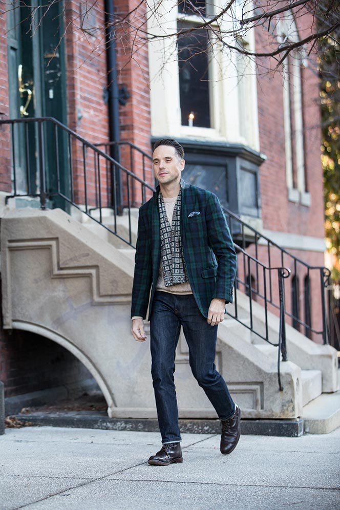 mens-tartan-plaid-blazer-with-jeans-boots-casual-holiday-party-attire-1