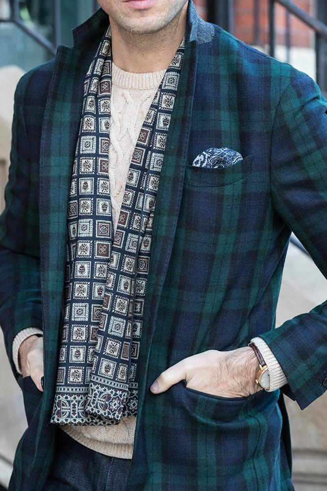 mens-tartan-plaid-blazer-with-jeans-sweater-scarf-casual-holiday-party-attire