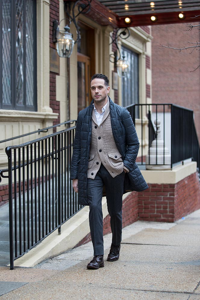 tan-chunky-shawl-cardigan-with-grey-flannel-pants-quilted-jacket-mens-winter-smart-casual-look-boots-5
