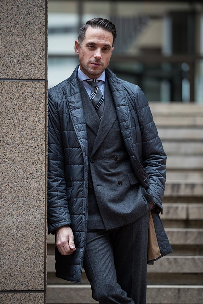 All Business: Charcoal Flannel Double-Breasted Suit - He Spoke Style