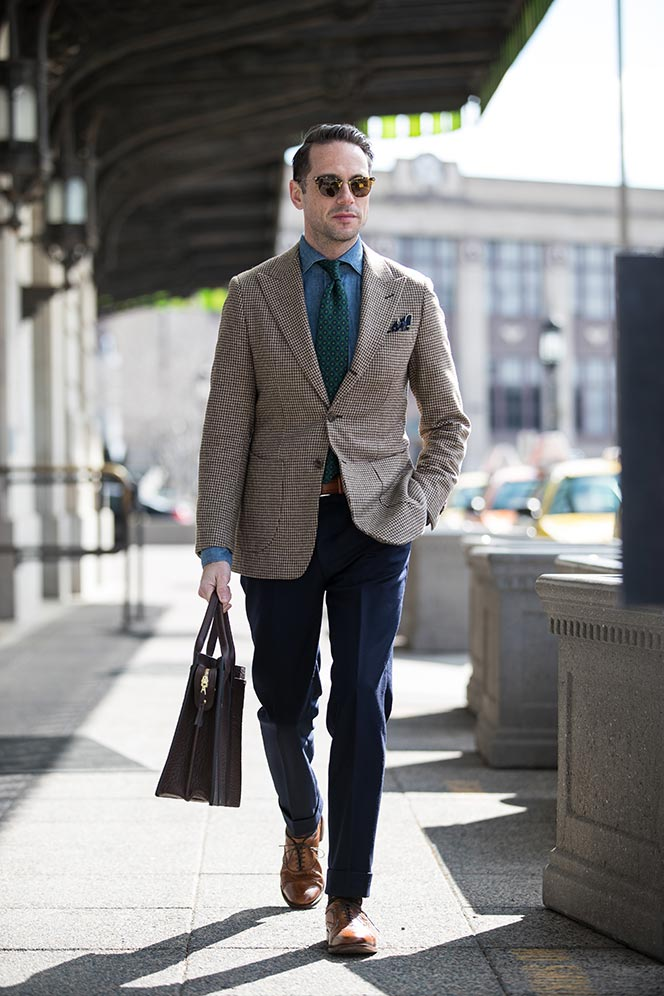 houndstooth-blazer-navy-pants-denim-cutaway-collar-shirt-green-medalion-print-tie-spring-business-casual-outfit-ideas-men-walnut-leather-shoes-allen-edmonds-strand-1