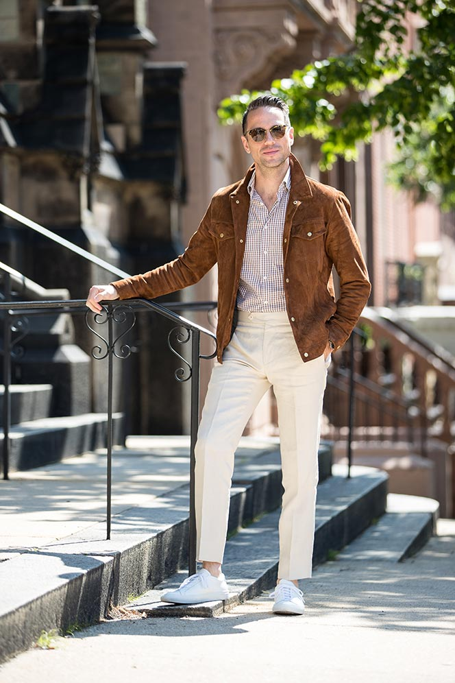 how to wear suede with linen