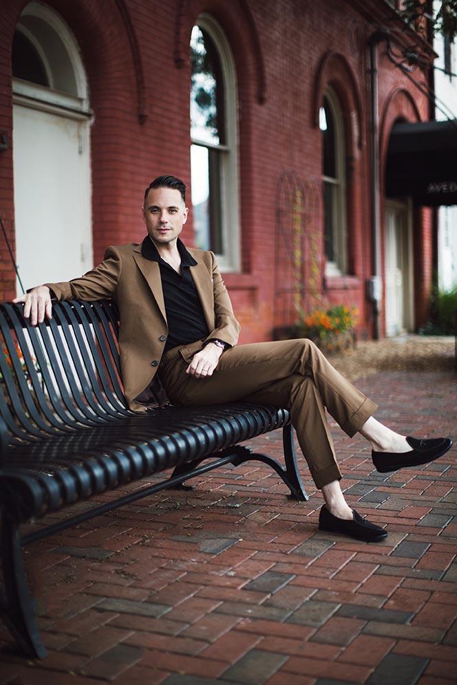 tobacco brown suit