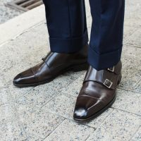 brown leather double monk strap shoes