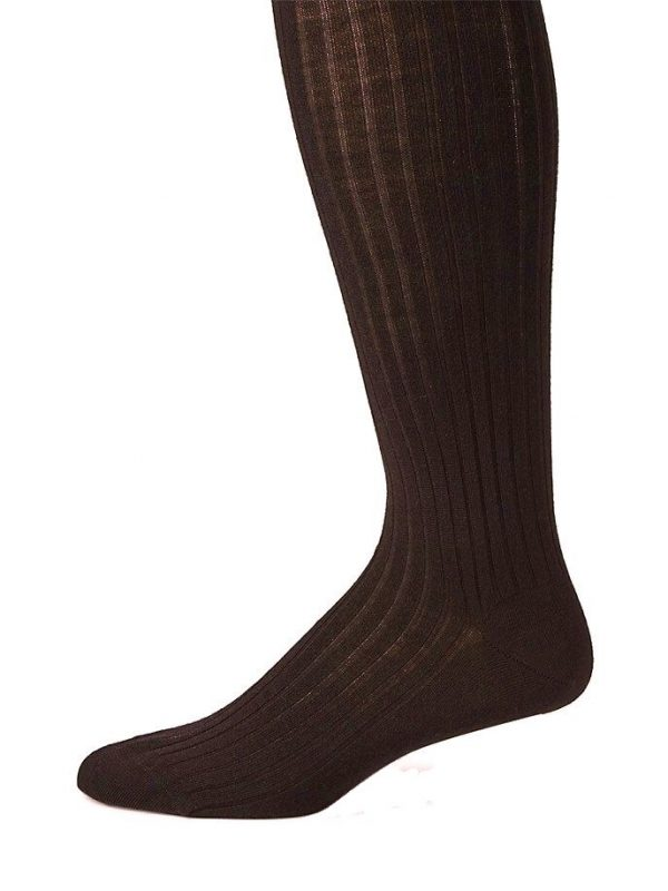 Chocolate Brown Merino Over the Calf Dress Socks