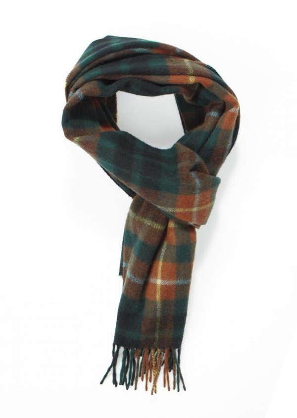 Crocket New Green Yellow Modern Tartan Cashmere Scarf